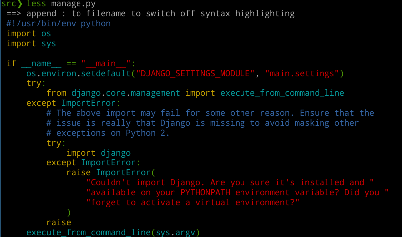 syntax highlighting in less